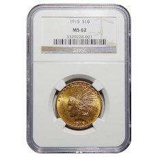 1915 Ngc MS62 $10 Indian Gold