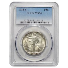 1918-S Pcgs MS64 Walking Liberty Half Dollar