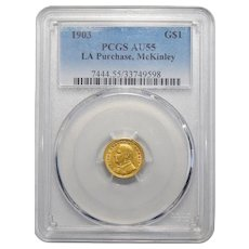 1903 Pcgs AU55 LA Purchase, McKinley One Dollar Gold