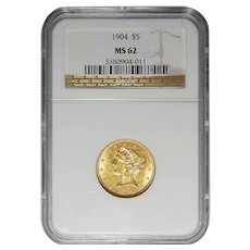 1904 Ngc MS62 $5 Liberty Head Gold