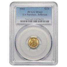 1903 Pcgs MS63 $1 Louisiana Purchase, Jefferson Gold