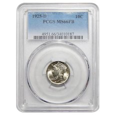 1925-D Pcgs MS66FB Mercury Dime
