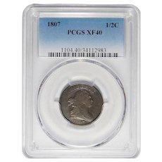 1807 Pcgs XF40BN Draped Bust Half Cent