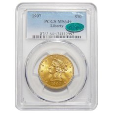 1907 Pcgs/Cac MS64+ $10 Liberty Head Gold