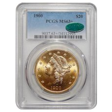 1900 Pcgs/Cac MS63+ $20 Liberty Head Gold