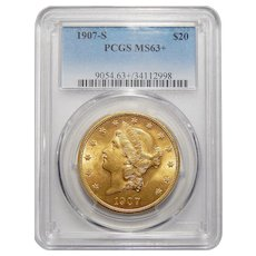 1907-S Pcgs MS63+ $20 Liberty Head Gold