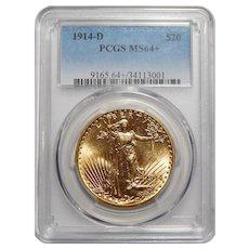 1914-D Pcgs MS64+ $20 St Gauden