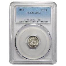 1860 Pcgs MS67 Seated Liberty Half Dime