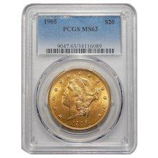1905 Pcgs MS63 $20 Liberty Head Gold