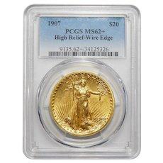 1907 Pcgs MS62+ $20 High Relief-Wire Edge St Gauden