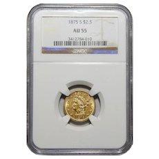 1875-S Ngc AU55 $2.50 Liberty Head Gold