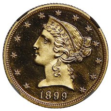 1899 Ngc PF69DCAM $5 Liberty Head Gold