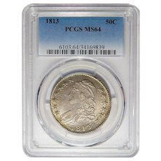 1813 Pcgs MS64 Capped Bust Half Dollar