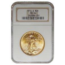 1914-S Ngc MS64 $20 Saint Gauden