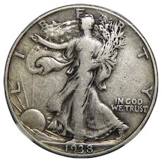 1938-D Ngc VF20 Walking Liberty Half Dollar