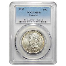 1937 Pcgs MS64 Roanoke Half Dollar