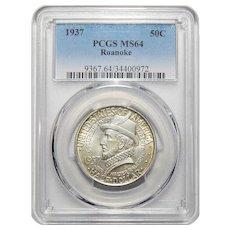 1937 Pcgs MS64 Roanoke Half Dollar