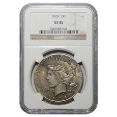 1928 Ngc XF45 Peace Dollar