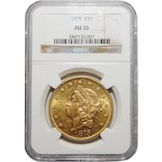 1875 Ngc AU55 $20 Liberty Head Gold