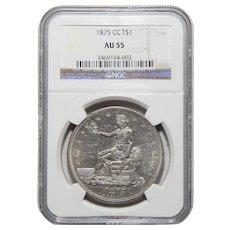 1875-CC Ngc AU55 Trade Dollar