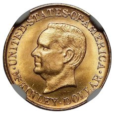 1916 Ngc MS65 $1 McKinley Gold