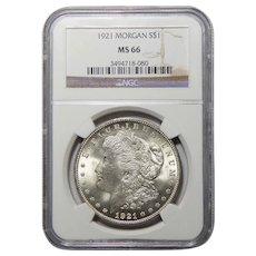 1921 Ngc MS66 Morgan Dollar