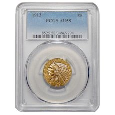 1913 Pcgs AU58 $5 Indian Head Gold