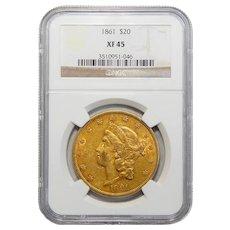1861 Ngc XF45 $20 Liberty Head Gold