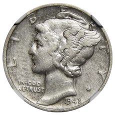 1942/1 Ngc VF Details, Improperly Cleaned Mercury Dime