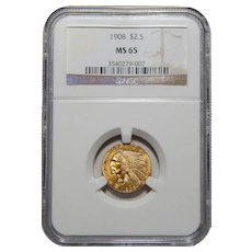1908 Ngc MS65 $2.50 Indian Gold