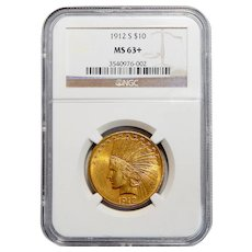 1912-S Ngc MS63+ $10 Indian Gold