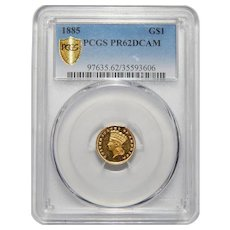 1885 Pcgs PR62DCAM Gold Dollar