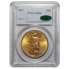 1927 Pcgs/Cac MS64 $20 St Gaudens