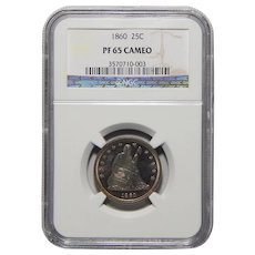 1860 Ngc PR65CAM Liberty Seated Quarter