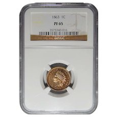 1863 Ngc PF65 Indian Head Cent