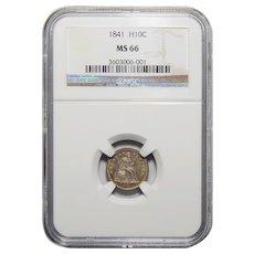 1841 Ngc MS66 Half Dime