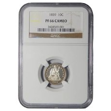 1859 Ngc PF66CAM Liberty Seated Dime