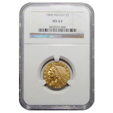 1908 Ngc MS63 $5 Indian Gold