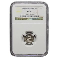 1855 Ngc MS67 Arrows Liberty Seated Half Dime