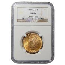 1909-D Ngc MS63 $10 Indian Gold