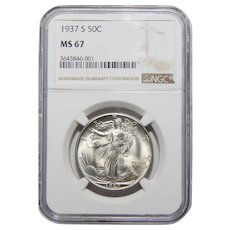 1937-S Ngc MS67 Walking Liberty Half Dollar