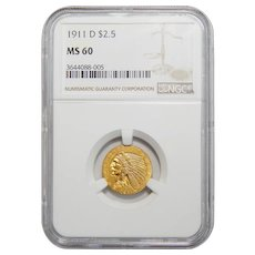 1911-D Ngc MS60 $2.50 Strong D Indian Gold