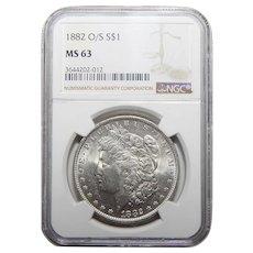 1882-O/S Ngc MS63 Strong Morgan Dollar