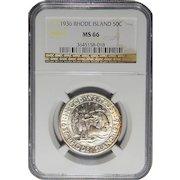 1936 Ngc MS66 Rhode Island Half Dollar