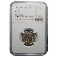 1937-D Ngc 3 Legs VF35 Buffalo Nickel