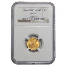 1926 Ngc MS63 $2.50 Sesquicentennial Gold
