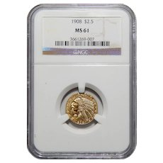 1908 Ngc MS61 $2.50 Indian Gold