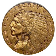 1910-S Ngc AU55 $5 Indian Gold