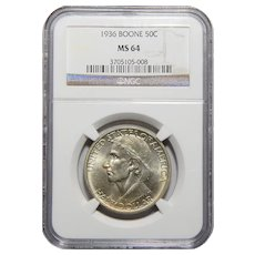 1936 Ngc MS64 Boone Half Dollar