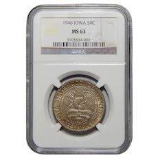 1946 Ngc MS63 Iowa Half Dollar